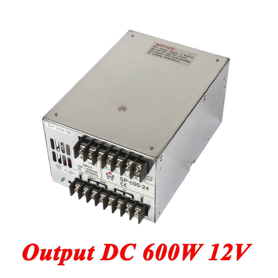 SP-600-12 PFC switching power supply 600W 12v 50A,Single Output ac-dc converter for Led Strip,AC110V/220V Transformer to DC 12 V meanwell 12v 350w ul certificated nes series switching power supply 85 264v ac to 12v dc