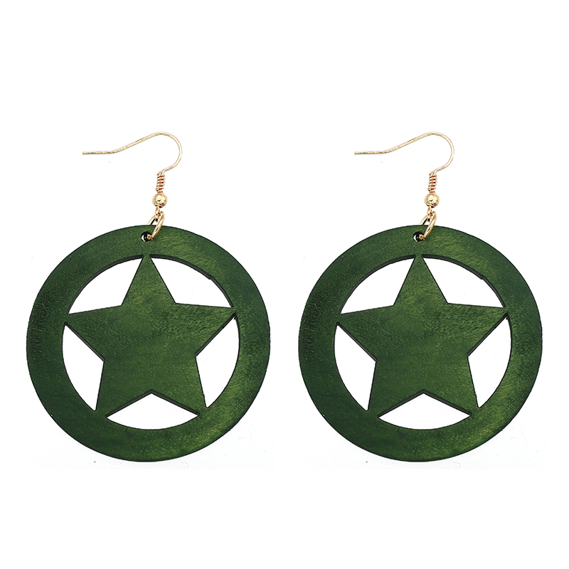 YULUCH Ethnic Woman Earrings Accessories Natural Wooden Round Hollow Out Lucky Star Pendant for African Jewelry Gifts