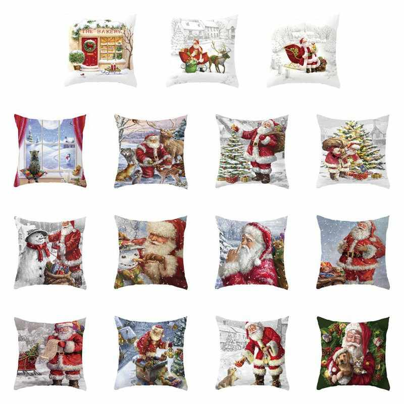 Christmas Pillow Case Deer Snowman Pattern Pillowcases Pillow Cover Cotton Linen Throw Room 45x45cm