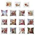 Рождественская Подушка Чехол олень костюм со снеговиками, набор наволочки Подушка крышка из хлопка и льна пледы номер размером 45*45 см - фото