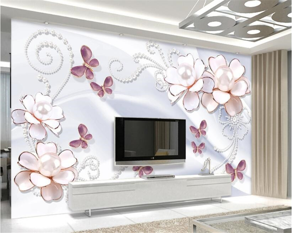 beibehang papel de parede 3d wallpaper Custom fashion personality silk cloth 3D wall paper pearl flowers stereo TV background beibehang custom 3d personality summer