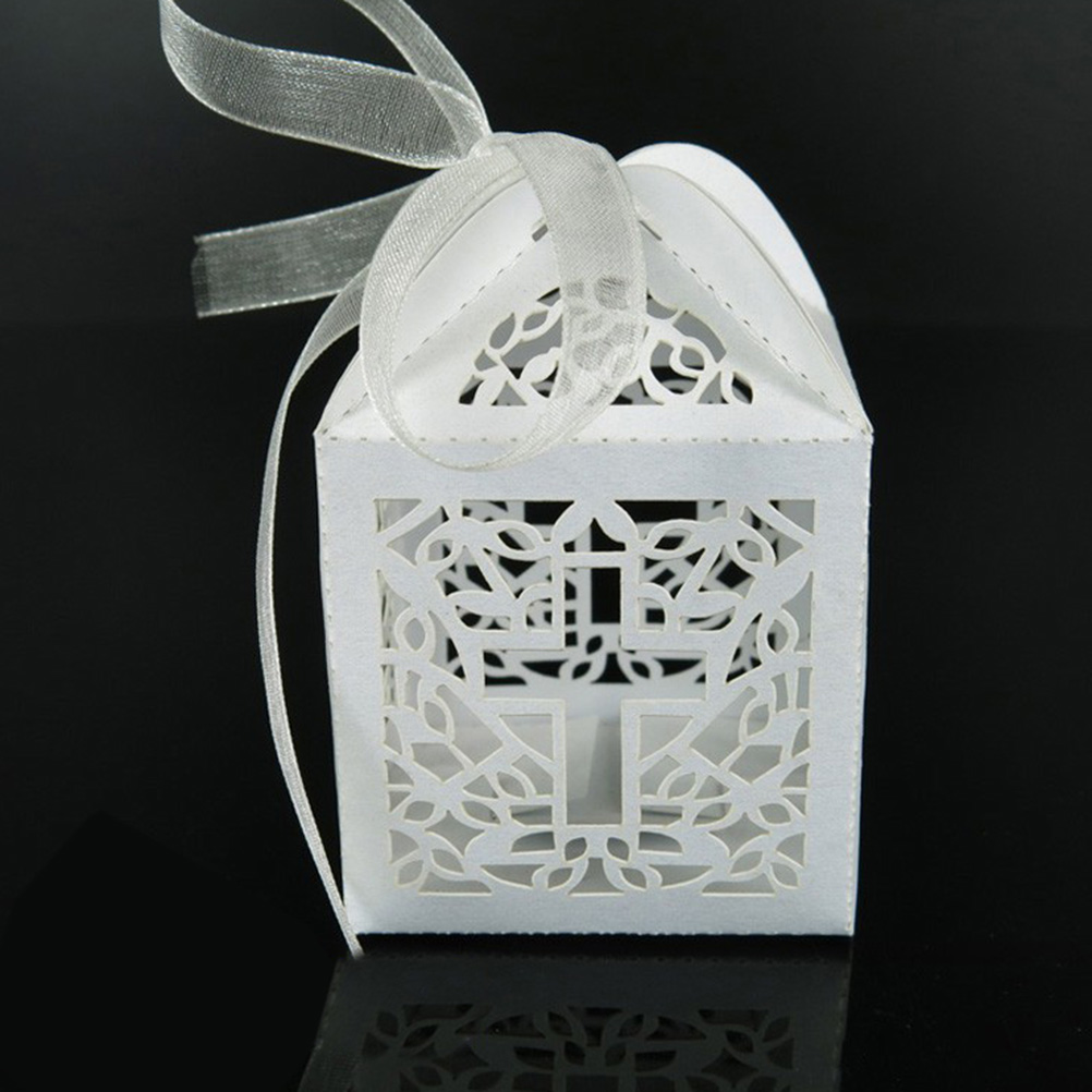 10pcs DIY Crossing Candy Boxes Angel Gift Box For Baby Shower Baptism Birthday First Communion Christening Easter Decoration