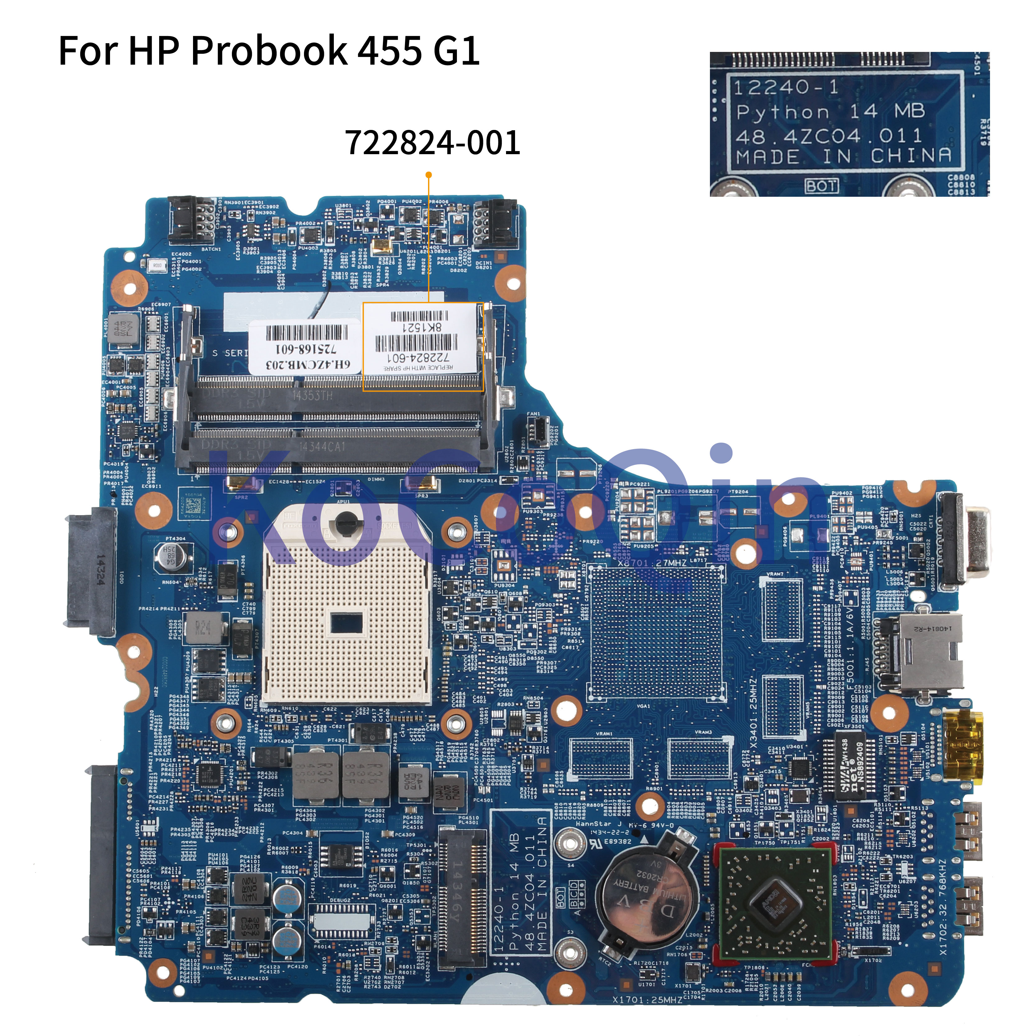 KoCoQin Laptop <font><b>motherboard</b></font> For <font><b>HP</b></font> Probook 445 G1 <font><b>455</b></font> G1 Mainboard 722824-001 722824-601 12240-1 48.4ZC04.011 AMD image