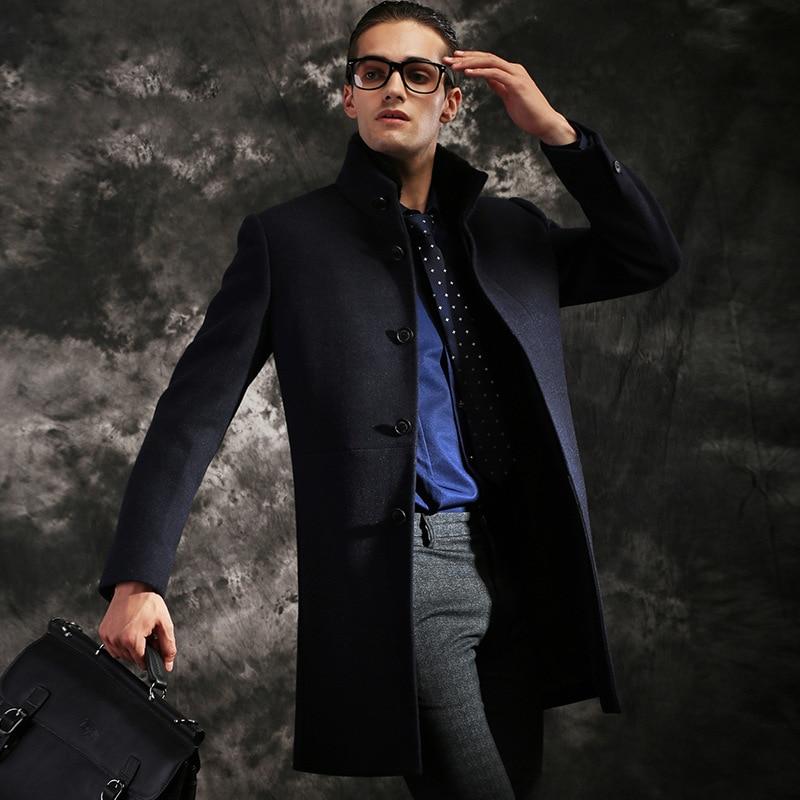 New Winter high-end men's jacket business casual warm coat Plus wool coat long Overcoat Windbreaker mink Fur collar Removable
