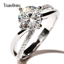 TransGems 1.5 Carat F Colorless Lab Moissanite Ring Sparkling Real Diamond Accents Wedding Engagement Women Band 14K White Gold