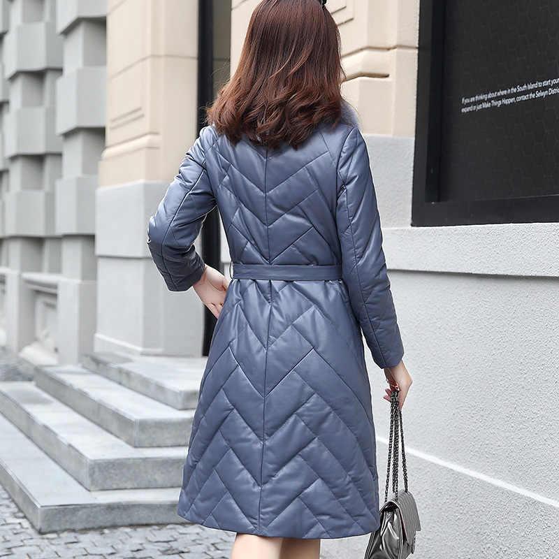 AYUNSUE Для женщин куртка из натуральной кожи натуральный Лисий меховой воротник длинный кожаный пуховик зима овчины пальто плюс Размеры G1749