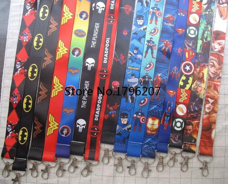 10pcs/20pcs/30pcs/50pcs Superheros Batman Spdierman Avengers  Neck Strap Lanyard Mobile Phone Key Chain ID Badge Key Chains K1