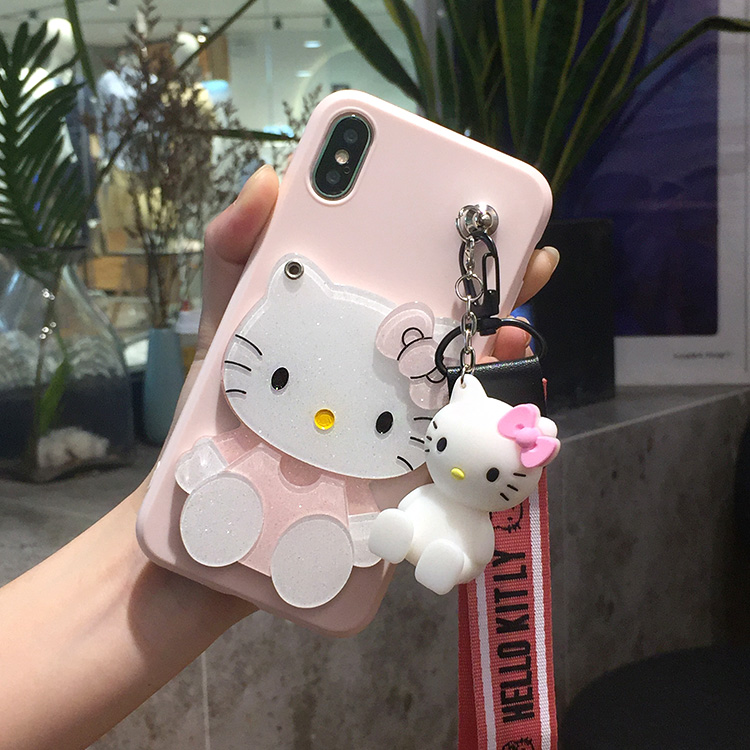 SAM S9 plus Mirror Cases , Cartoon Hello Kitty Soft Phone Cases For Samsung S3/S4/S5/S6/S7 edge/S8/S9 KT case +toy stander+Strap