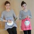 Korean style fashion cotton pregnant women long-sleeve lactation T-shirt striped patchwork Cartoon breastfeed tees nursing tops