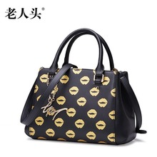 LAORENTOU brand new genuine leather bag brand fashion Casual Simple printing Superior cowhide leather women Tote shoulder bag