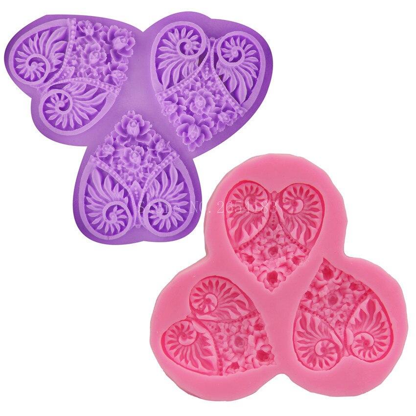 Rosa amor corazón patrón Cisne silicona fondant Jabones 3D pastel de ...