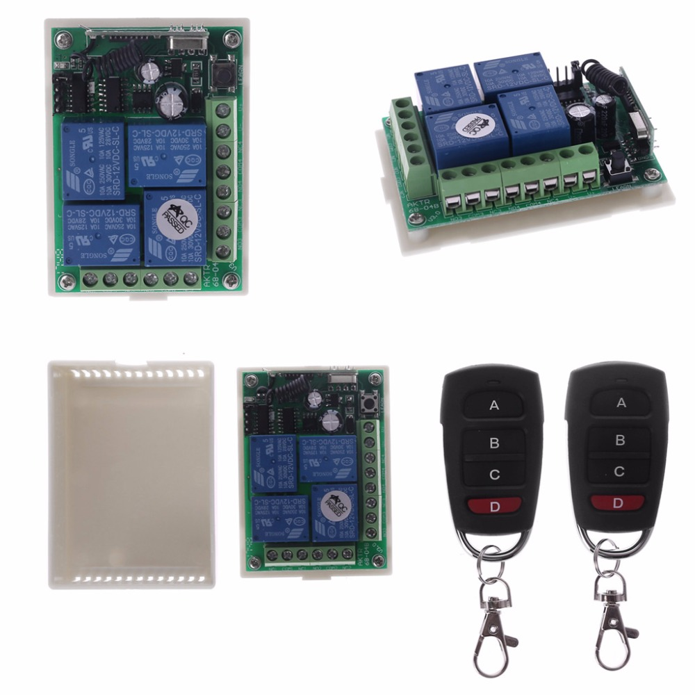 2019 Popular 12V 4CH Channel Relay Wireless RF Remote Control Switch 2 Transmitter Receiver in Remote Controls from Consumer Electronics