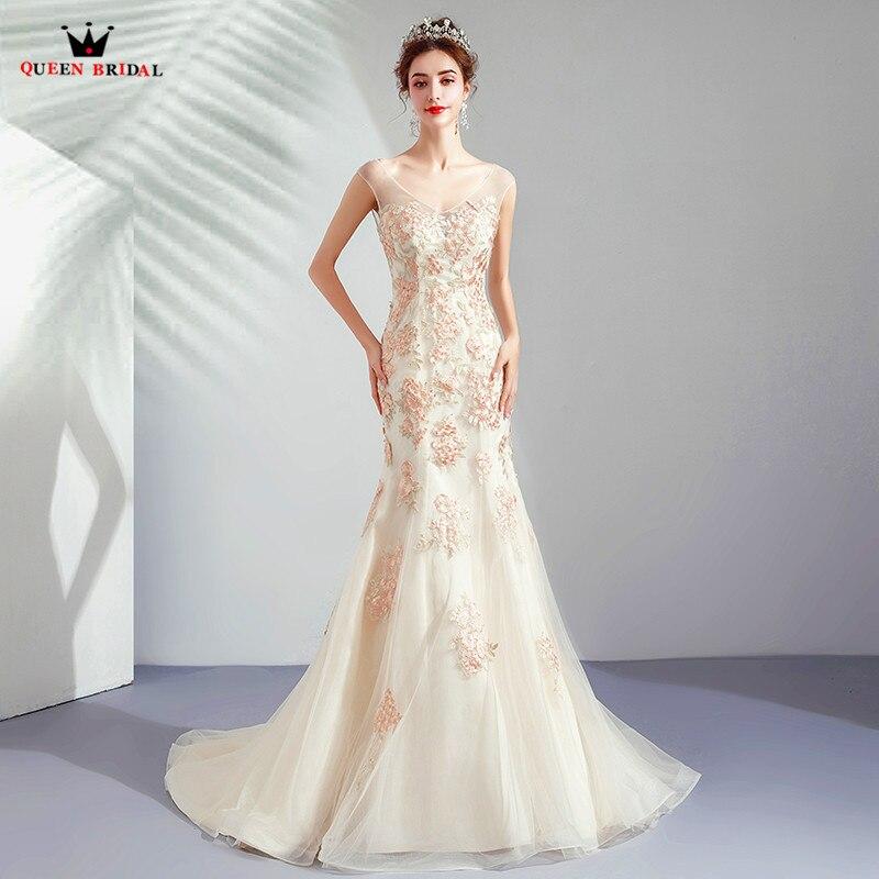 Sexy sirène dos ouvert Tulle dentelle fleurs Appliques Champagne robes de soirée 2019 mode robes de soirée robe robe de soirée CS12