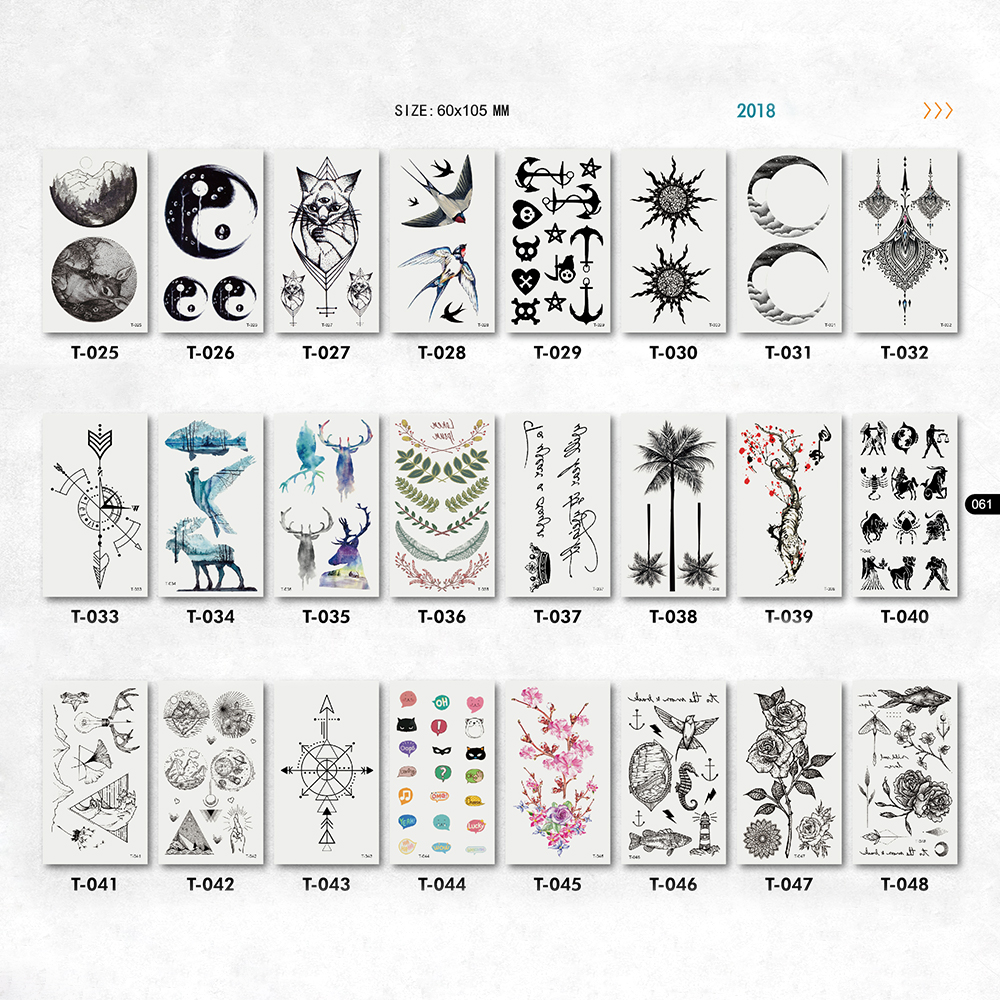 waterproof small cat tattoos stickers tree bird deer arrow flower emoji image neck hand  ...