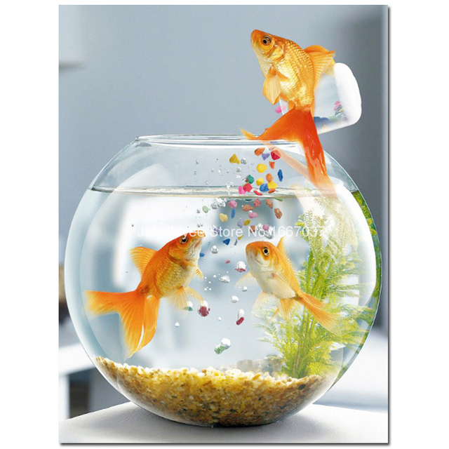 Goldfish in fishbowl rhinestones painting mosaic patchwork for Aquarium decoration paint