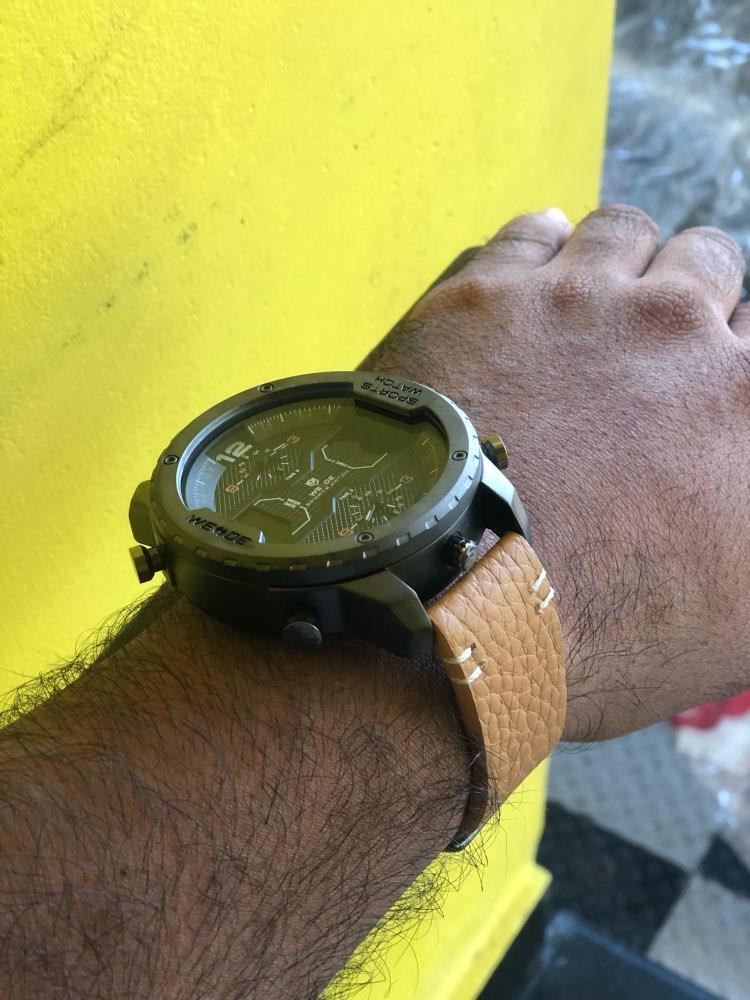 WEIDE montre de sport pour hommes mains analogiques calendrier numérique Quartz marron bracelet en cuir montres reloj hombre 2019 horloge militaire - 6