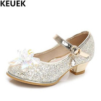 NEW Children High heels Sequined Rhinestone Girls Crystal Shoes Princess Kids Leather Shoes Student Baby Glitter Dance Shoes 019
