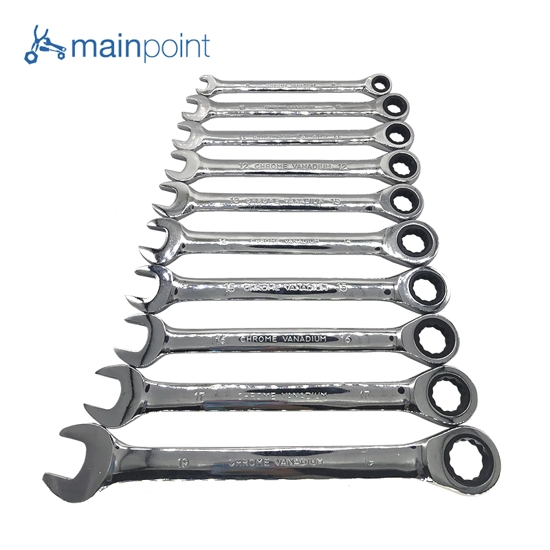 Mainpoint 7Pcs/10pcs Ratchet Wrenches Kit Double End 8~19mm Combination Cr-V Ratcheting Socket Spanner Wrench Hand Tools Sets стоимость