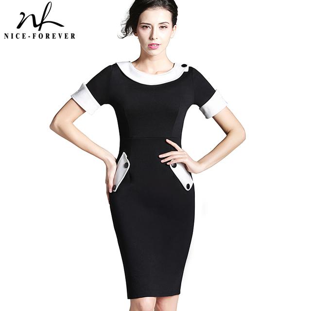 Nice-forever damas oficina elegantes mujeres túnica más tamaño trabajo dress button manga corta bodycon negocios lápiz midi dress 832