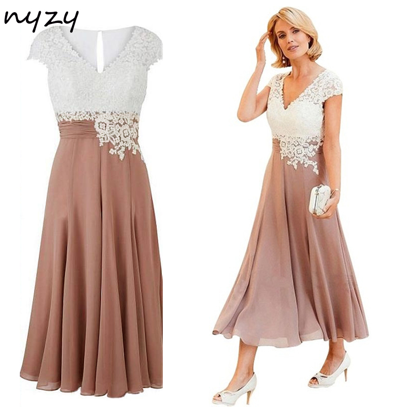 NYZY M21 Summer Party Dress Formal Gown Cap Sleeves Two Color Chiffon Mother Of The Bride Dresses Plus Size Tea Length 2019