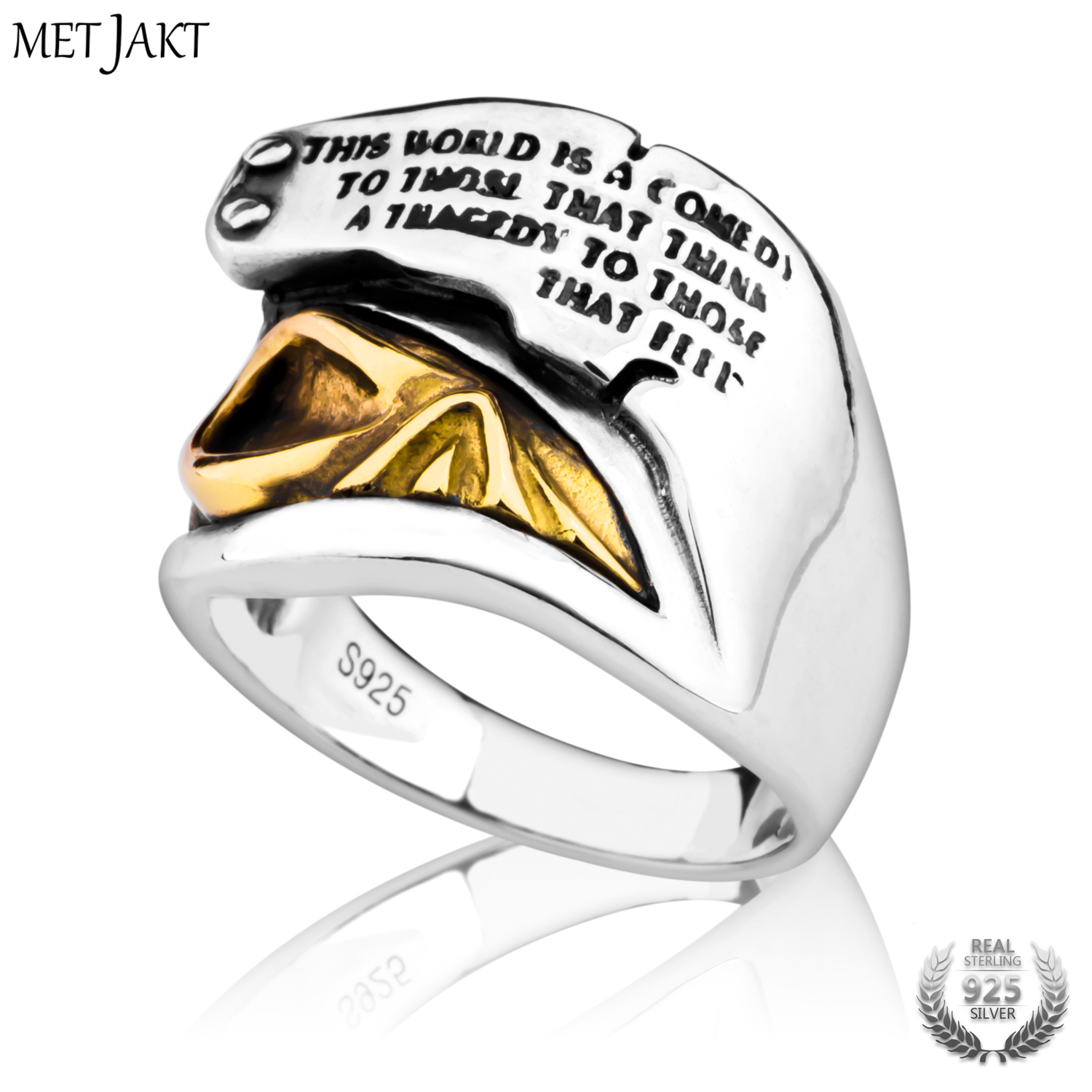 MetJakt Pirates of The Caribbean Golden Skull Ring & Hand Carved Alphabet Ring Solid 925 Sterling Silver for Men Punk Jewelry