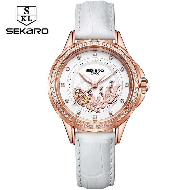 Sekaro watch womens Hollow Love Fish Note Women Mechanical Watch Stainless Steel Fashion Diamond watch womens wristwatch