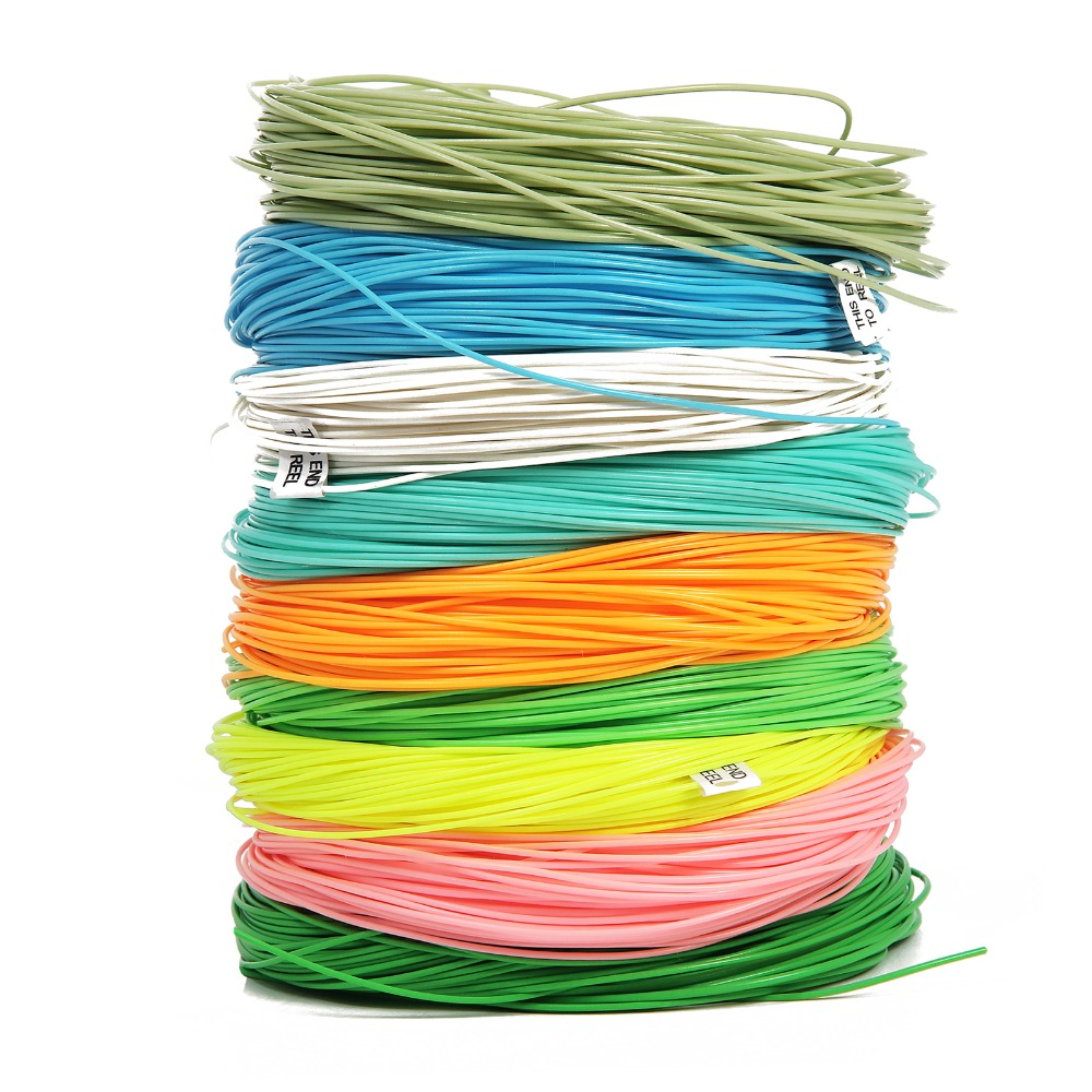 1PCS Fly Line WF 1/2/3/4/5/6/7/8/9F 100FT Pink/Moss Green/Orange/Blue/Yellow Weight Forward Floating Fly Fishing Line 1pcs ap003 gx12 2 3 4 5 6 7 pin 12mm male