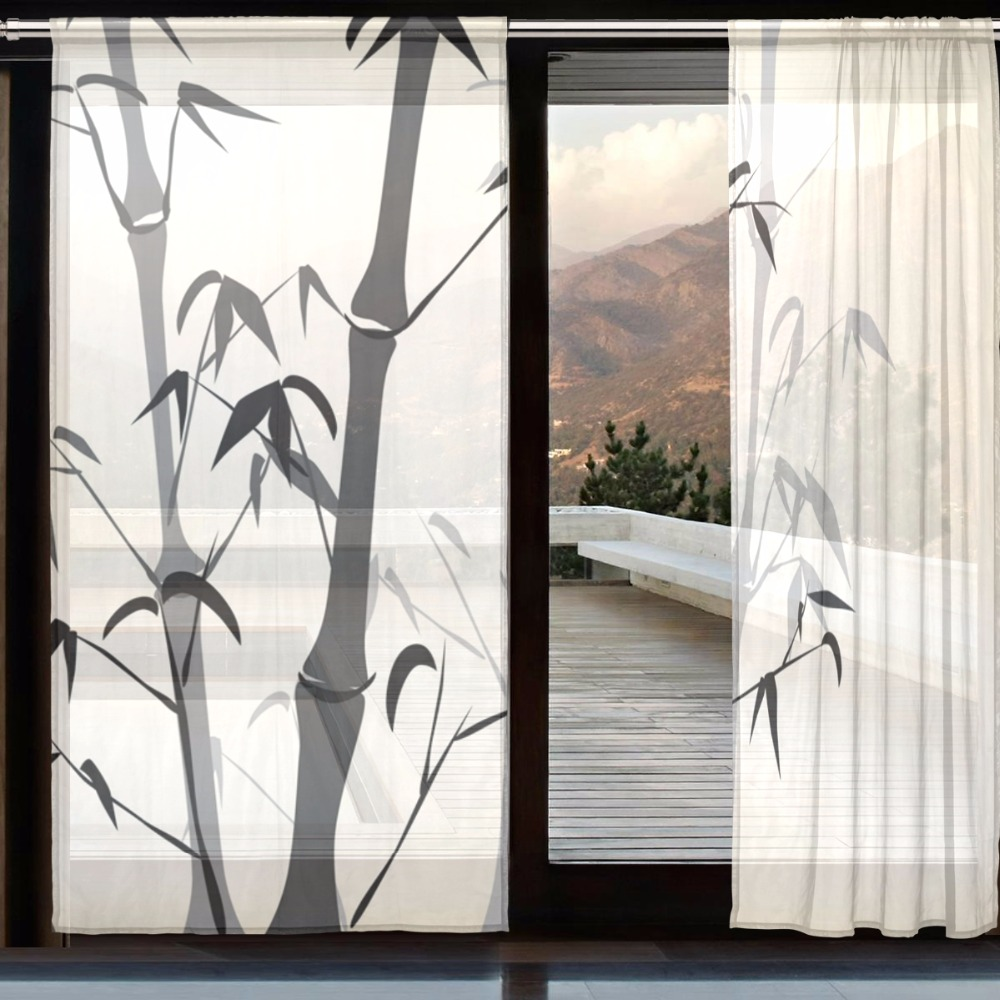 Bedroom french window cortinas voile curtain living room for Bamboo curtains in bedroom