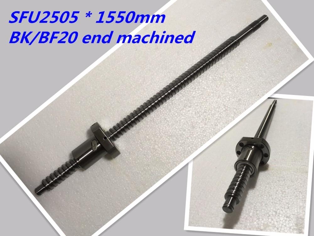 1pc 25mm Ball Screw Rolled C7 ballscrew 2505 SFU2505 1550mm BK20 BF20 end processing 1pc SFU2505