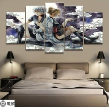 Home Decor Modular Canvas Painting Picture 5 Piece GINTAMA Sakata Gintoki Animation Poster Wall For Wholesale