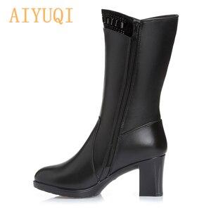 Image 4 - AIYUQI 2020 ladies boots for winter genuine leather women boots warm wool rhinestone fashion high heel tassel boots women