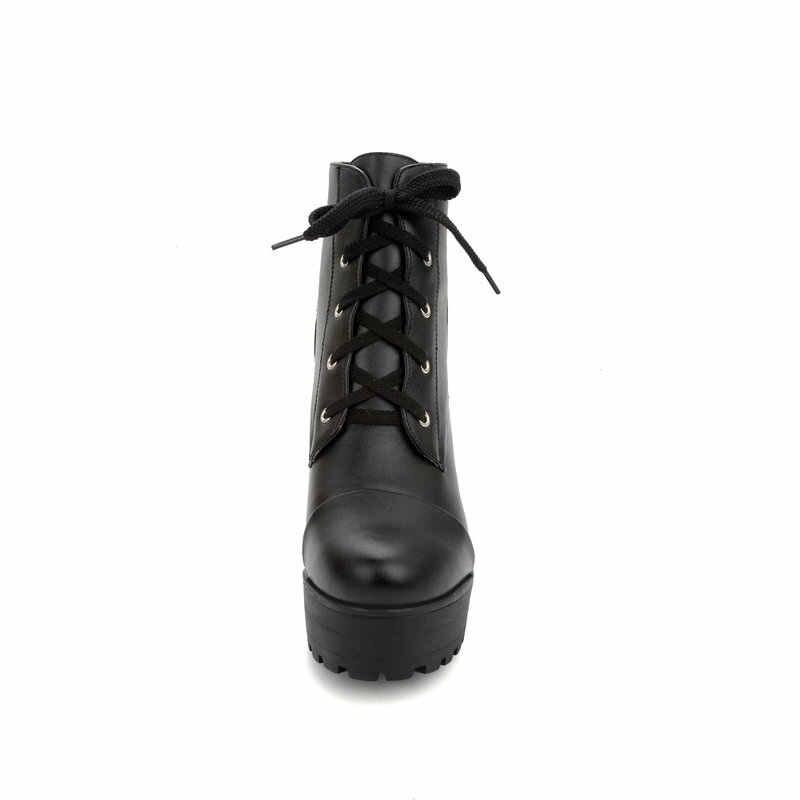 Kadın Kalın Yüksek Topuk yarım çizmeler Platformu Moda Dantel Up Savaş Botları Kış Kadın binici çizmeleri