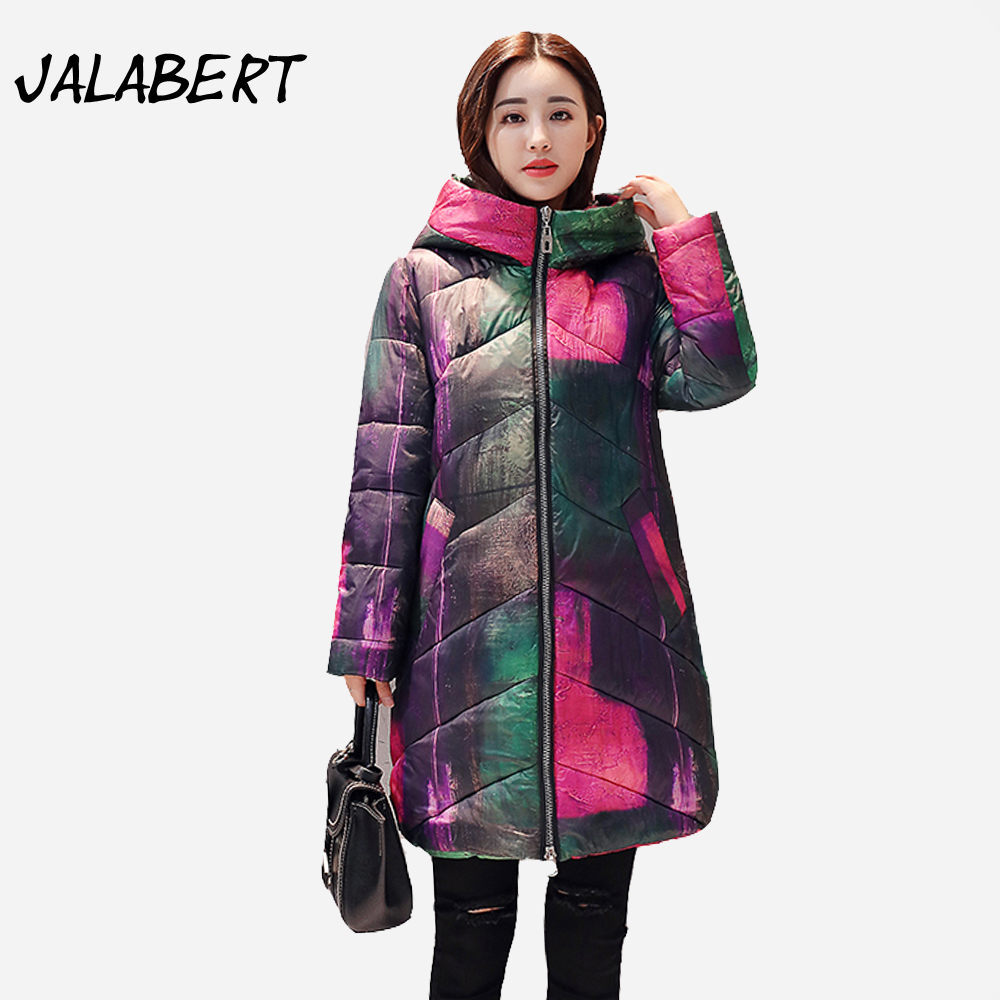 2017 winter new thick warm cotton coat women long Loose hooded large size printing Graffiti Female fashion Parkas abner 2017 new winter loose long coat fashion women down cotton female warm parkas overcoat good quality free shipping