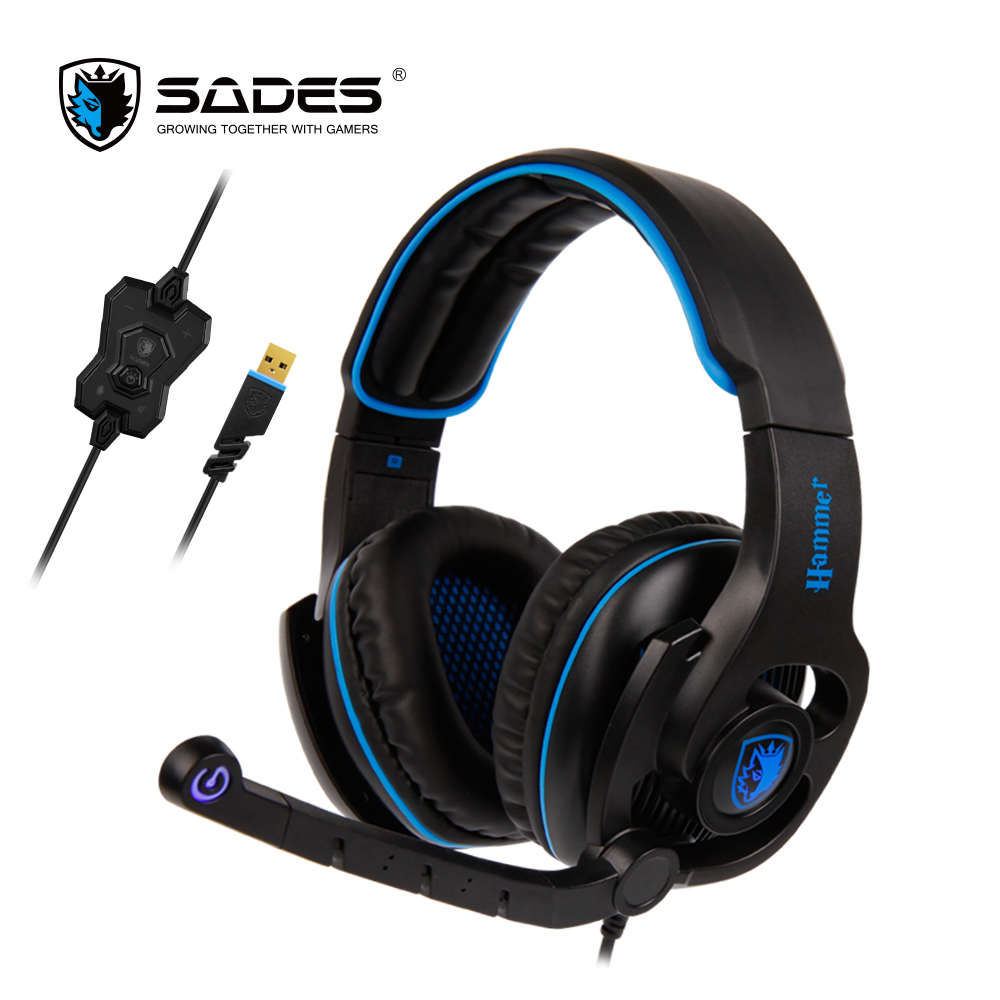 все цены на  SADES HAMMER Headphones Virtual 7.1 Surround Sound Headset with Rotatable Microphone Multifunctional In-line Controller  онлайн