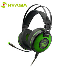 HYASIA LED Light Gaming Headset USB Game Headphones Stereo Headband Earphone PC With Mic Soft Noise Reduction PUBG Game earpiece