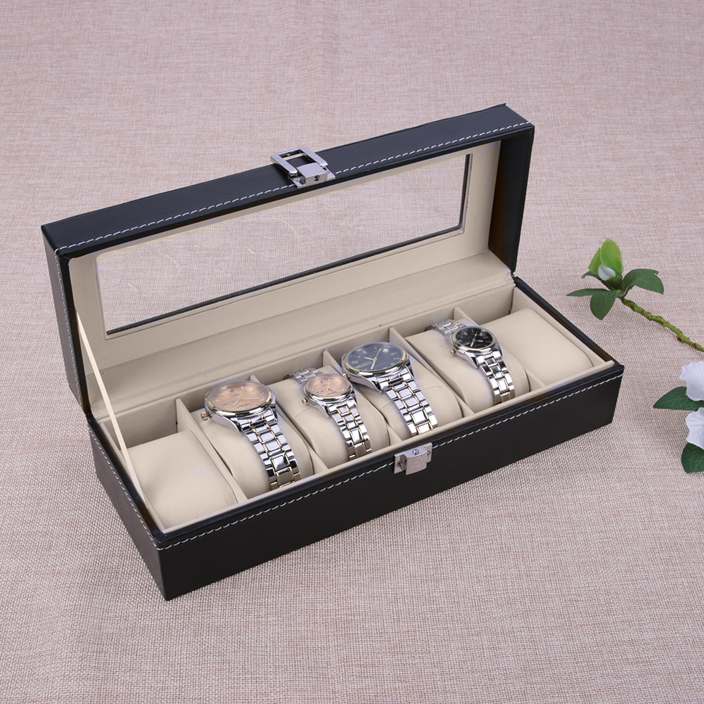 New 6 Grid Luxury Refinement Slots Wrist Watches Gift Box Case Jewelry Display Boxes Storage Holder