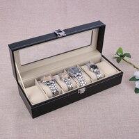 Nuevo 6 Rejilla Ranuras de Refinamiento de Lujo Relojes de Pulsera de Regalo caja de la Caja Exhibición de La Joyería Cajas De Almacenamiento holder caixa párr relogio