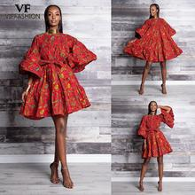 VIP FASHION Women Summer Tribal Nation Style Sexy Bubble Dress  Floral Print African Dress For Women недорого