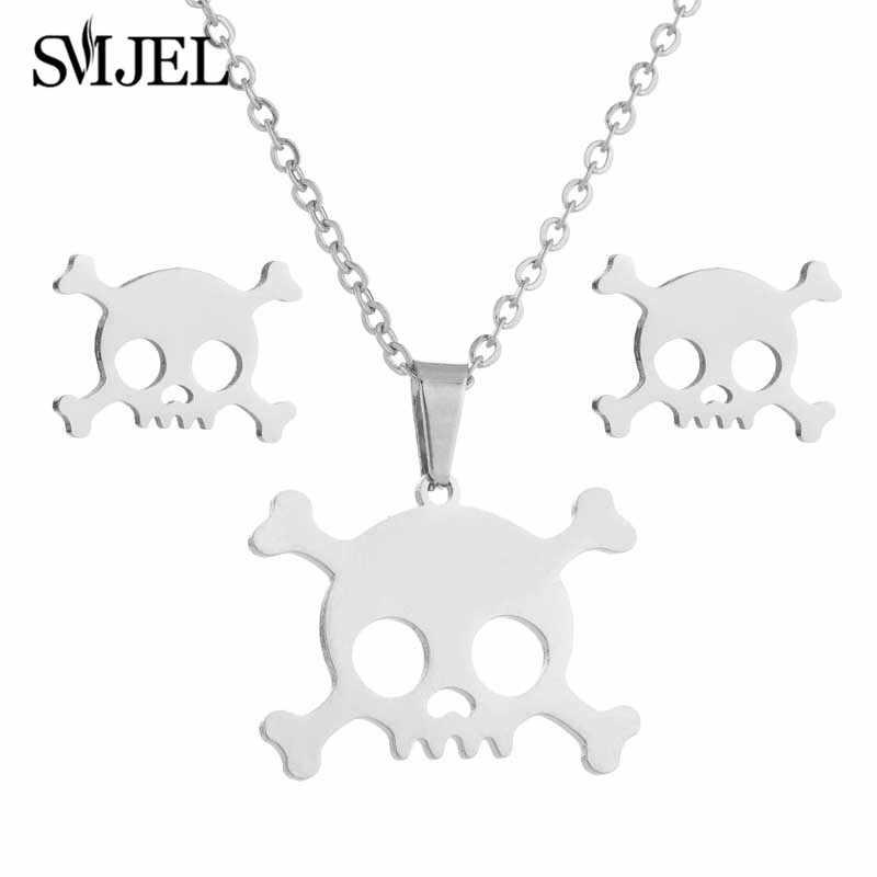Smjel joyería de Halloween collar de calavera de acero inoxidable gótico Biker collares pendientes para hombres/mujeres Punk Rock pendiente regalo