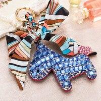 Fashion Rhinestones Crystal Silk Bow Little Horse Keychain Key Ring Women Handbag Charm Pendant Key Holder