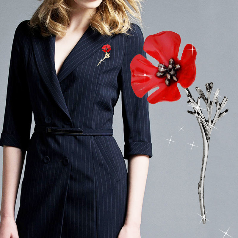 Sale 1PC Fashion Red Poppy Flower Brooch Vintage Collar Pins for Women Men Jewelry Brooches Pins