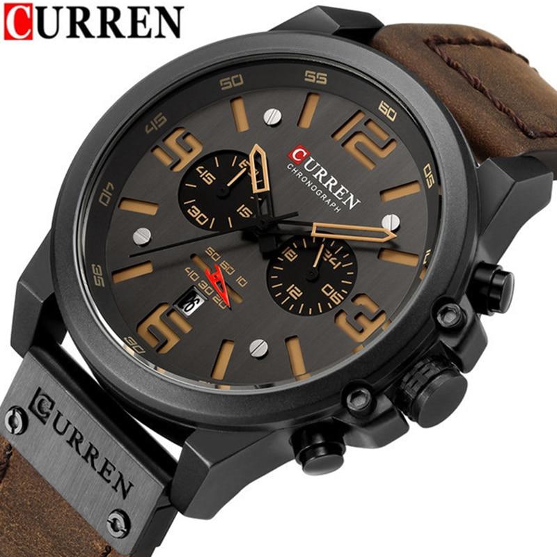 CURREN 8314 Mens Relógios Top Marca de Luxo Cronógrafo Relógio de Couro Genuíno de Moda Masculina Esporte Militar Relógio de Pulso À Prova D' Água
