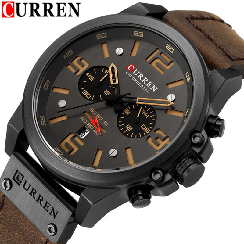 CURREN 8314 Mens Watches Top Brand Luxury Chronograph Fashion Male Clock Genuine Leather Waterproof Sport Military Wristwatch curren 2018 fashion military brown genuine leather belt chronograph calendar display mens quartz sport watches top brand luxury