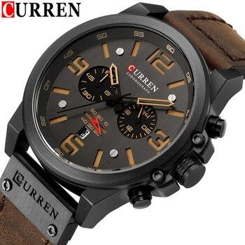 CURREN 8314 Mens Watches Top Brand Luxury Chronograph Fashion Male Clock Genuine Leather Waterproof Sport Military Wristwatch дамски часовници розово злато