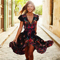 2017 del verano de boho dress sexy étnica print retro vintage dress tassel beach dress bohemia hippie dress robe vestidos mujer