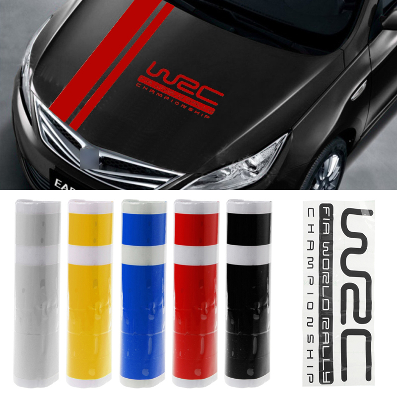 Mayitr 1pc 110*15cm W-RC Stripe Racing Sports Sticker 4 Colors Graphic Car Hood Cover Vinyl Decal For Car Exterior Parts(China)