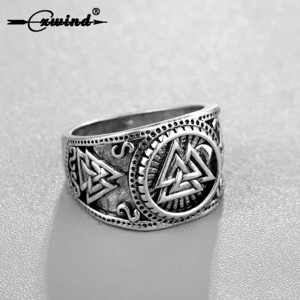 Cxwind Retro Odin Symbol Rings Norse Viking Runes Rings For Men Runic Norse Valknut Antique  Knuckle Ring Coiler Charm Jewelry