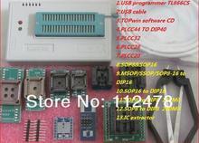 Envío gratis 2017 Rusia y Inglés Software V6.6 apoyo BIOS MiniPro TL866CS USB Programador Universal 14037 + 10 artículos