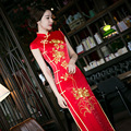2017 New Red Embroidery Elegant Sexy Vintage Chinese Traditional Long Slim Bodycon Qipao Wedding Dress Chinese Style Cheongsam