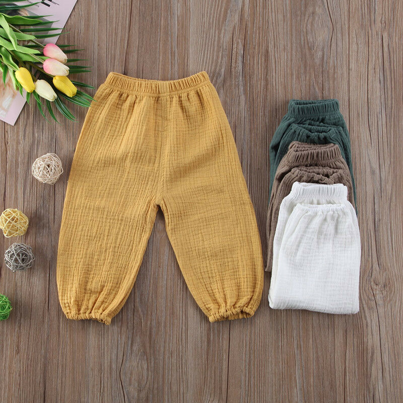 Toddler Baby Kids Girl Boys Baby Pantalettes Soft Cotton Wrinkled Bloomers Trousers Legging Pants(China)